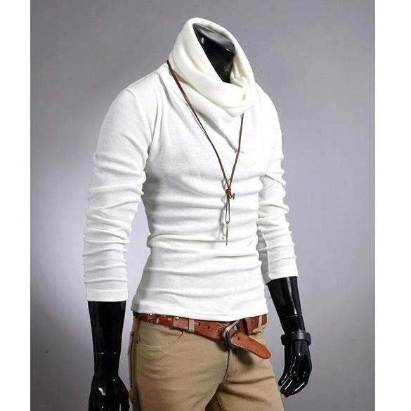 New-Korea-Men-039-s-Casual-Slim-Fitting-Dress-Shirts-T-shirt-Tee-Tops-6-Color-4-Size