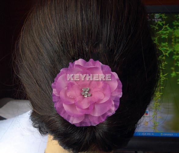 baby girl lady jewel centered head flower hair clip bow