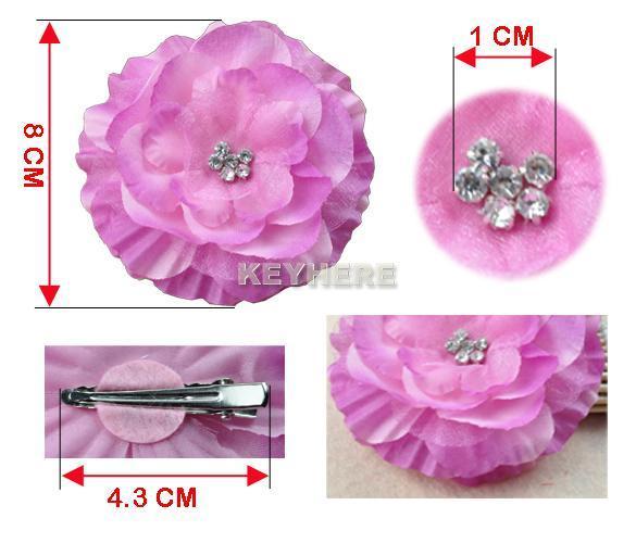 baby girl lady jewel centered head flower hair clip bow