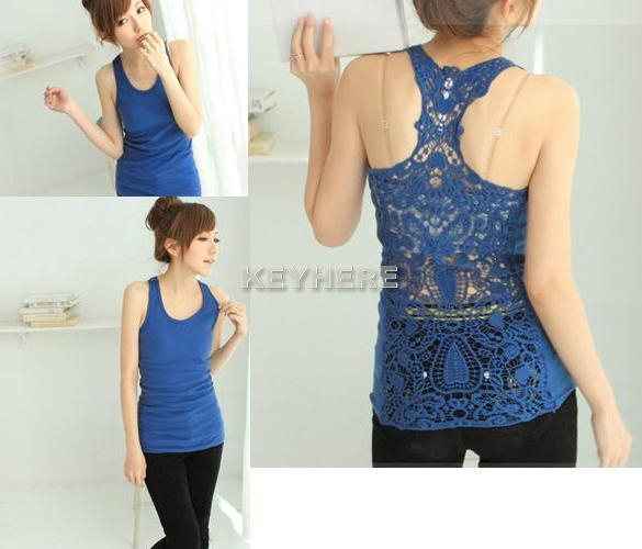 Korea Womens Shirt Top Hollow out Vest Waistcoat Camisole Pierced