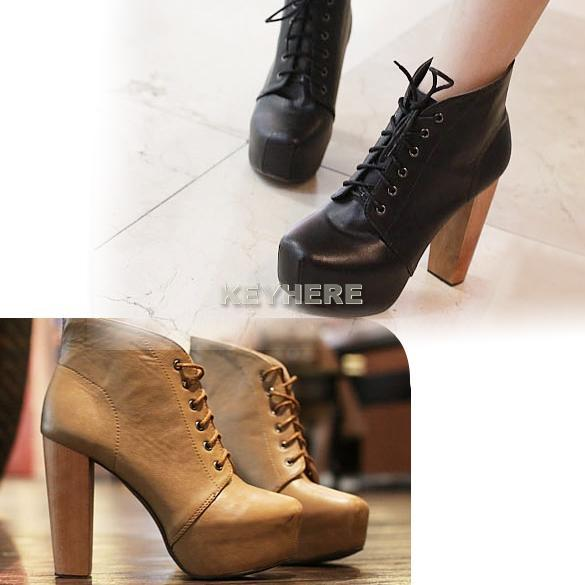 New Lady Women's Platform Round Toe High Heels Shoes Ankle Boots 2 Colors