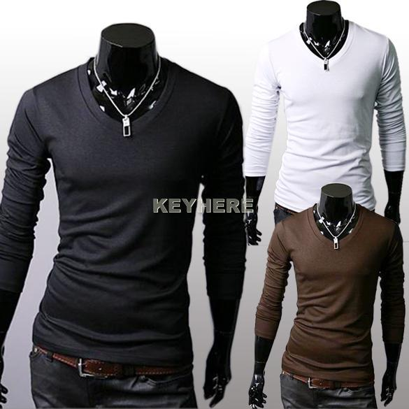 Hot sale men 39 s slim fit men tight shirts casual v neck for Mens long sleeve t shirts sale
