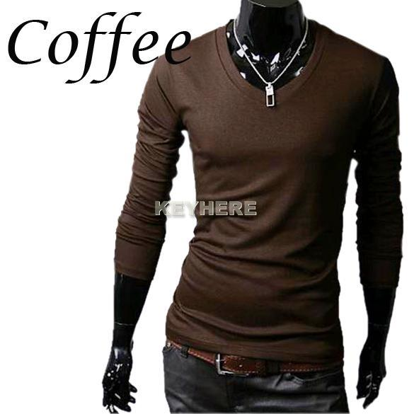 Hot Sale Men 39 S Slim Fit Men Tight Shirts Casual V Neck