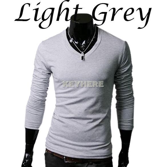 Hot Sale Men's Slim Fit Men Tight Shirts Casual V Neck Long Sleeve ...
