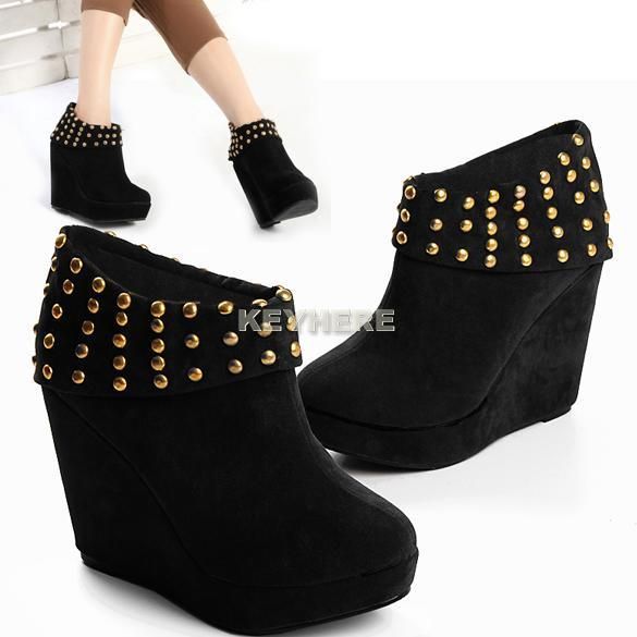HOT-Fashion-PARTY-WOMEN-SOFT-SUEDE-Rivet-ANKLE-Boot-Shoes-Platform-Wedge-Booties