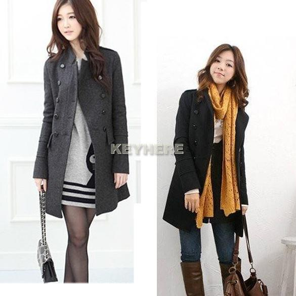 New Fashion Womens Ladies Slim Fit Trench Double Breasted Coat Jacket Overcoat