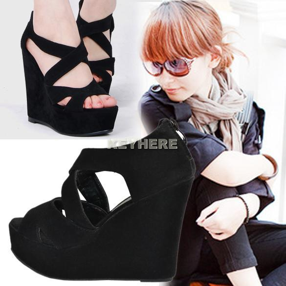 Womens-High-Heels-Platform-Cross-Suede-Wedge-Peep-Toe-Sandals-Shoes-Ankle-Zip